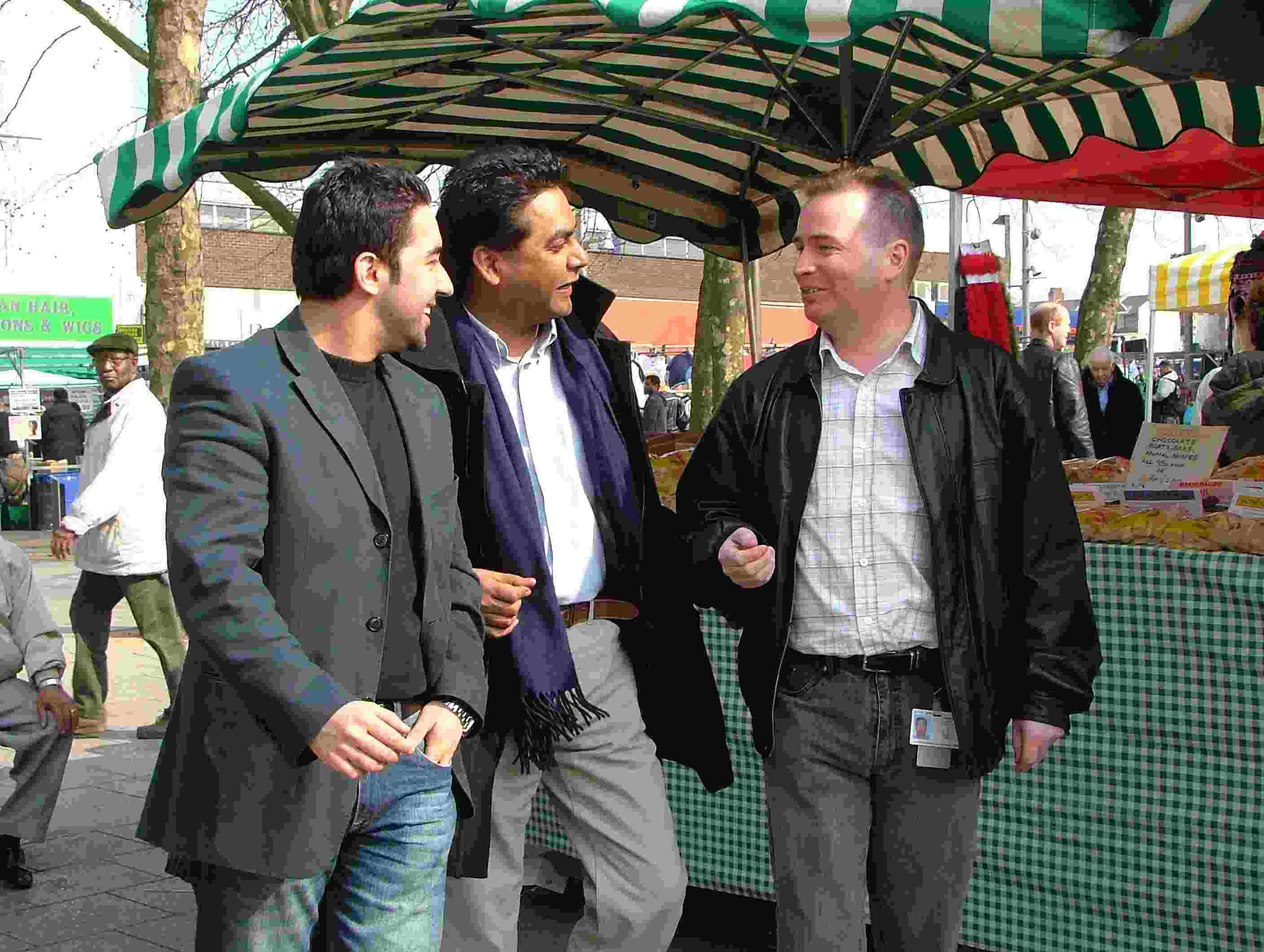 High St councillors Johar Khan (left) and James O'Rourke (right) with Walthamstow parliamentary candidate Farid Ahmed