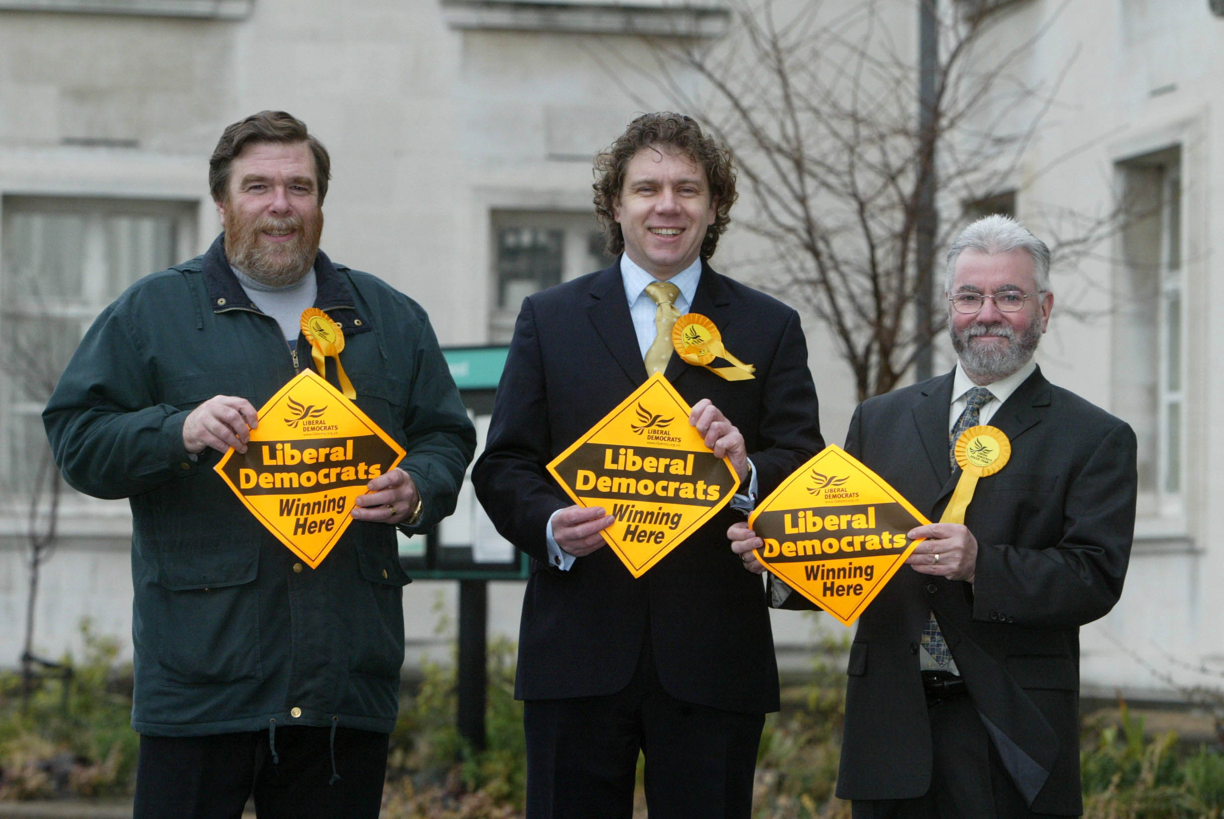 Cllr Bob Carey (left) and the Liberal Democrat team for Chapel End