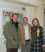 Cllr James O'Rourke (centre) campaigns with London Lib Dem MP Simon Hughes and Hale End and Highams Park councillor Sheila Smith-Pryor