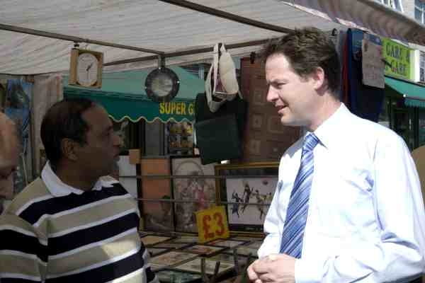 Nick Clegg speaks to stallholders on his recent visit to Walthamstow Market.