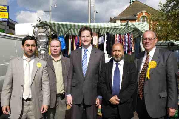 Lib Dem leader Nick Clegg joins the High St Lib Dem team
